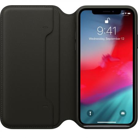 Кожаный чехол Apple Folio для iPhone XS (чёрный)